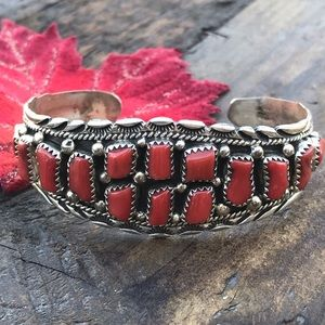 Vintage Navajo Sterling Silver Red Coral Cuff